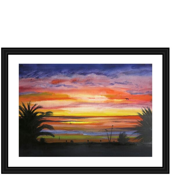 st-kilda-sunset-original-painting-by-watercolour-artist-carin-lavery-by-Carin Lavery