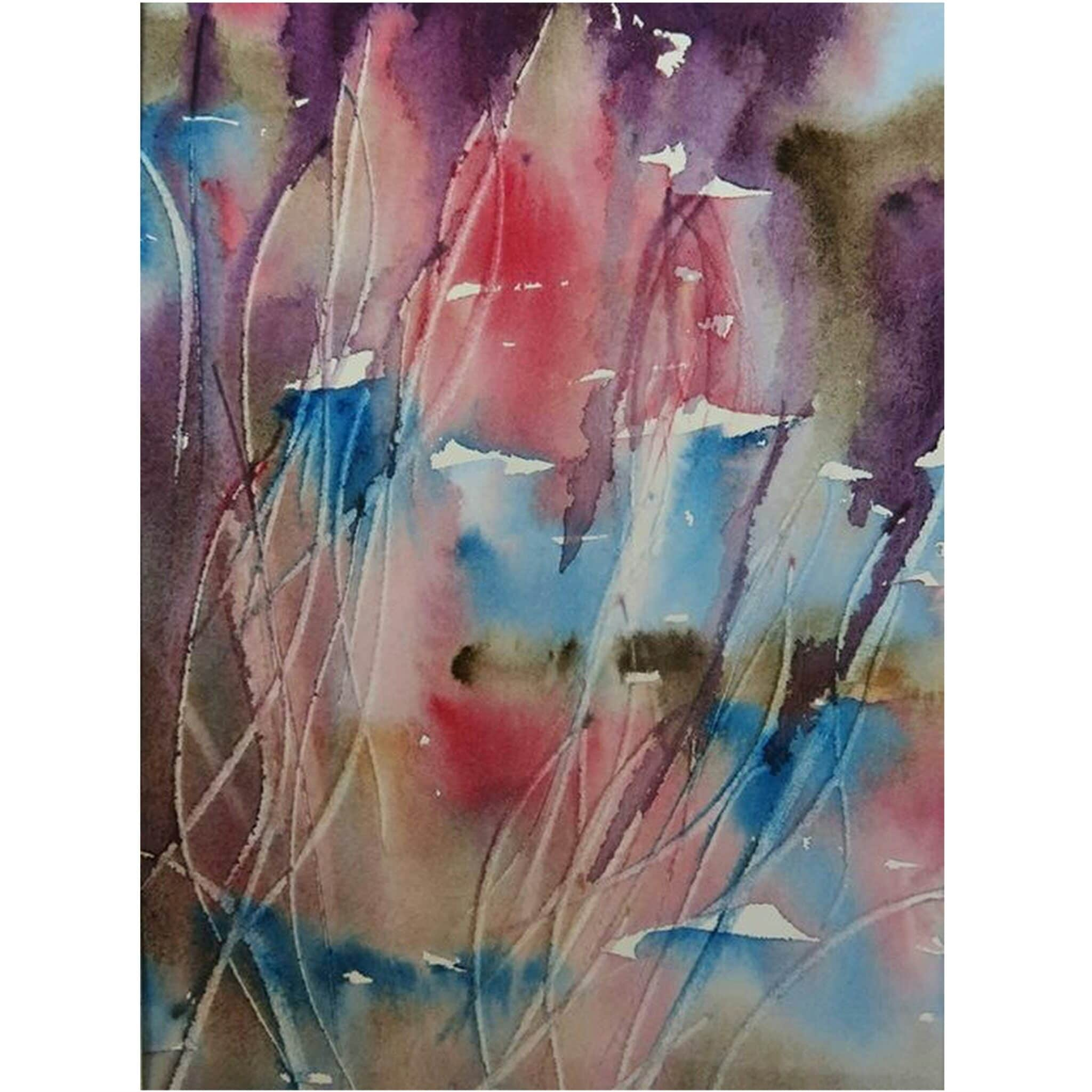 Blowing In The Breeze. An Abstract Watercolour Original Painting Of Flowers By Local Artist Carin Lavery