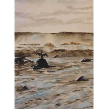 drying-my-wings-seascape-a2-limited-edition-giclee-print-by-watercolour-artist-carin-lavery-by-Carin Lavery
