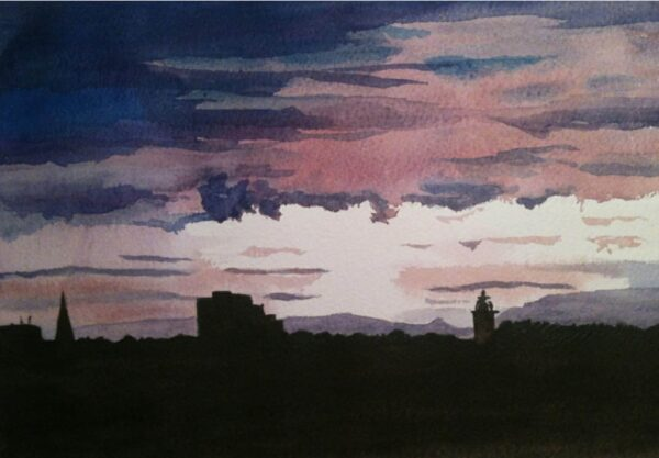 a-new-day-dawns-over-st-kilda-original-painting-by-watercolour-artist-carin-lavery-by-Carin Lavery