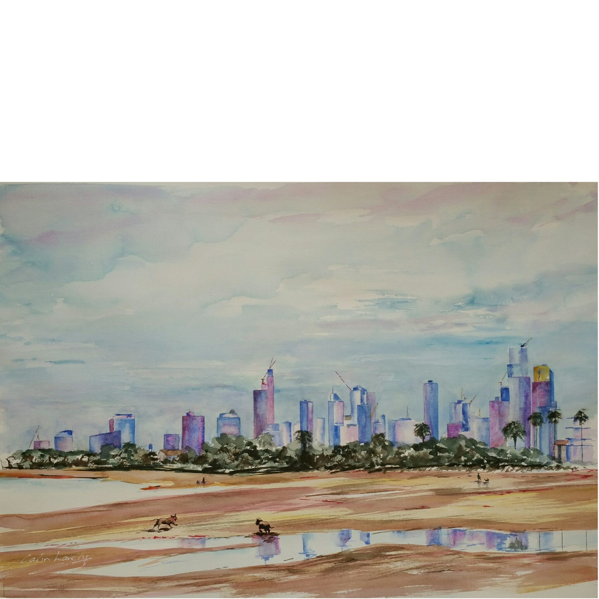 Melbourne, City On The Beach, A2 Limited Giclée Edition Print, By Watercolour Artist Carin Lavery