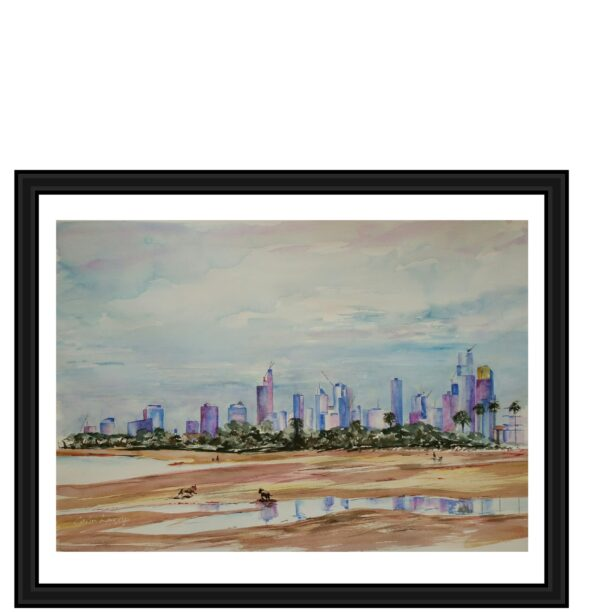 melbourne-city-on-the-beach-a3-limited-giclee-edition-print-by-watercolour-artist-carin-lavery-by-Carin Lavery