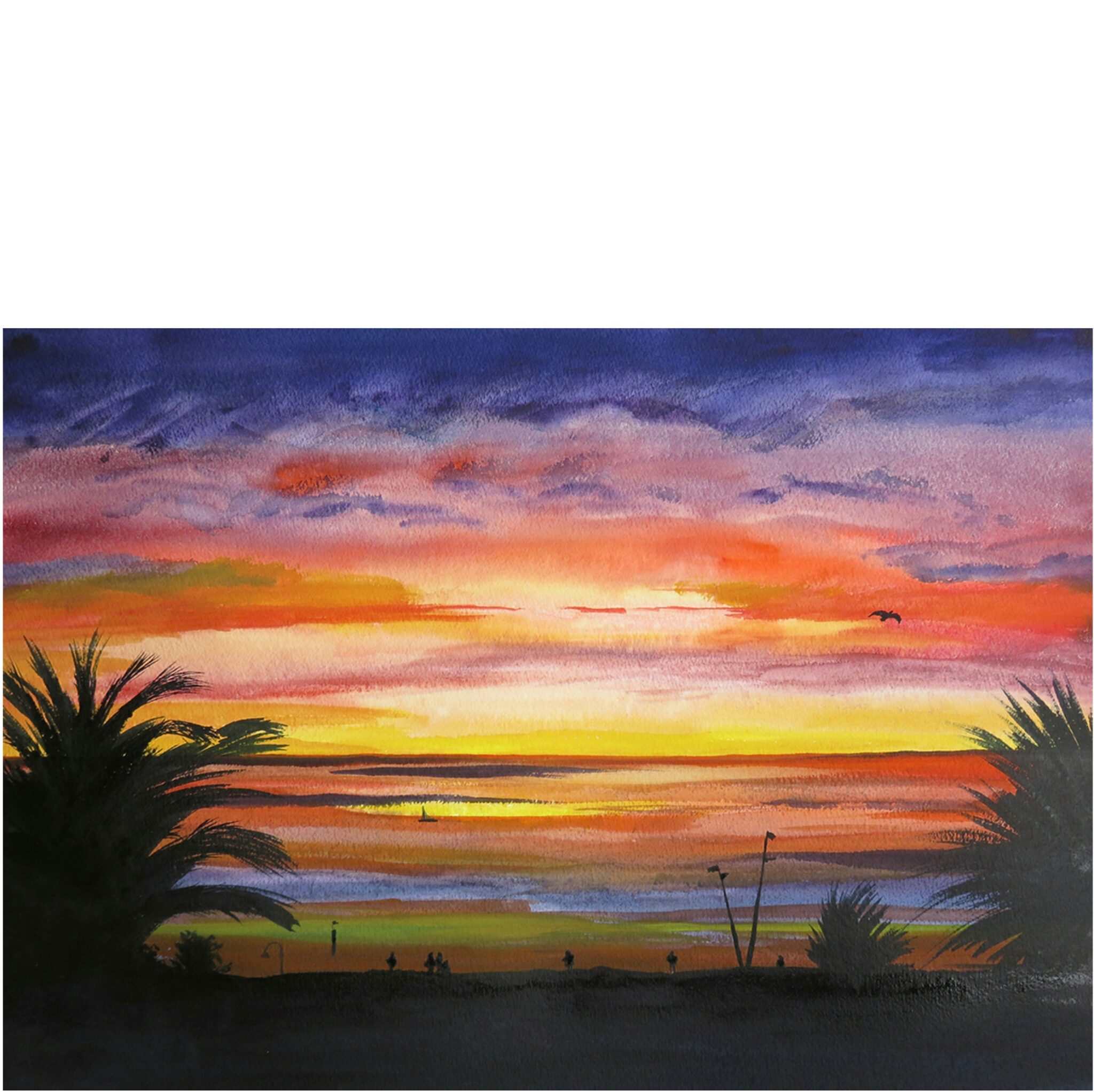 Limited Edition Print Of A Beautiful St Kilda Sunset By Local Artist Carin Lavery