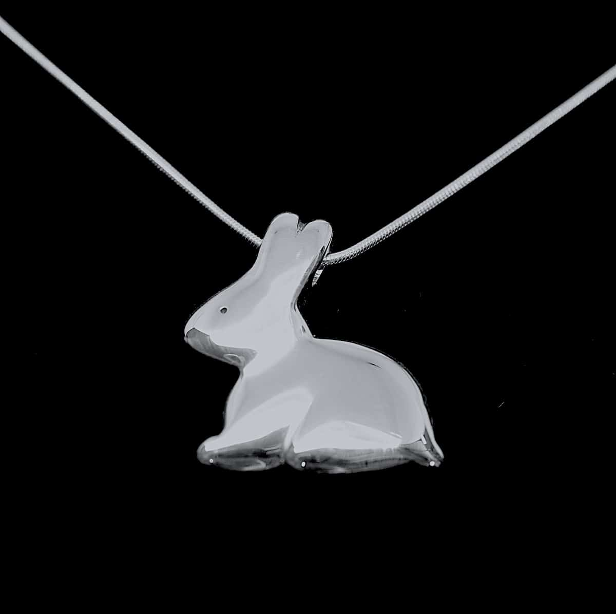 Chocolate Bunny – Handmade Sterling Silver Rabbit Pendant By Purplefish Designs