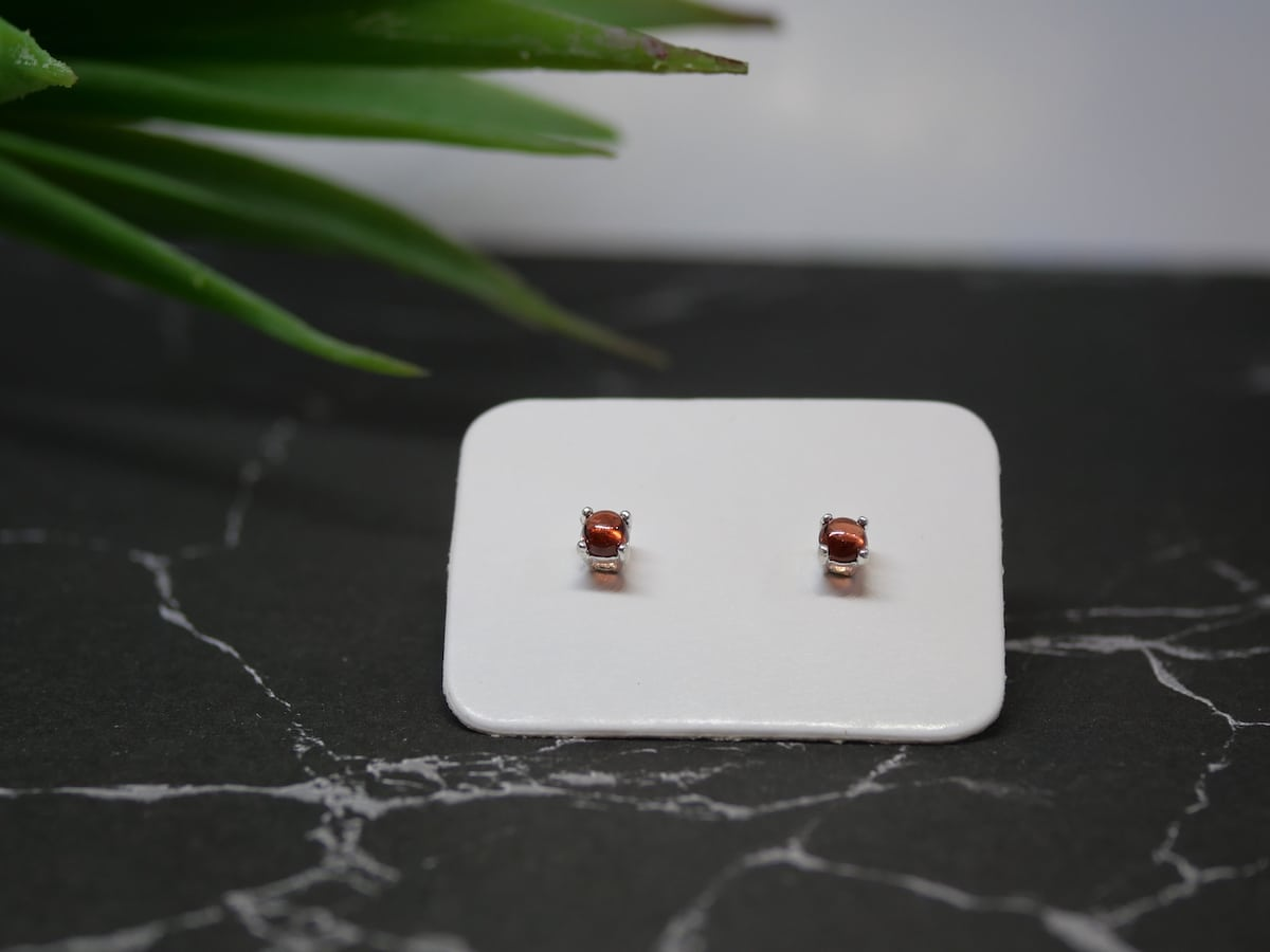 Tiny Garnet Studs – Sterling Silver Earrings By Purplefish Designs