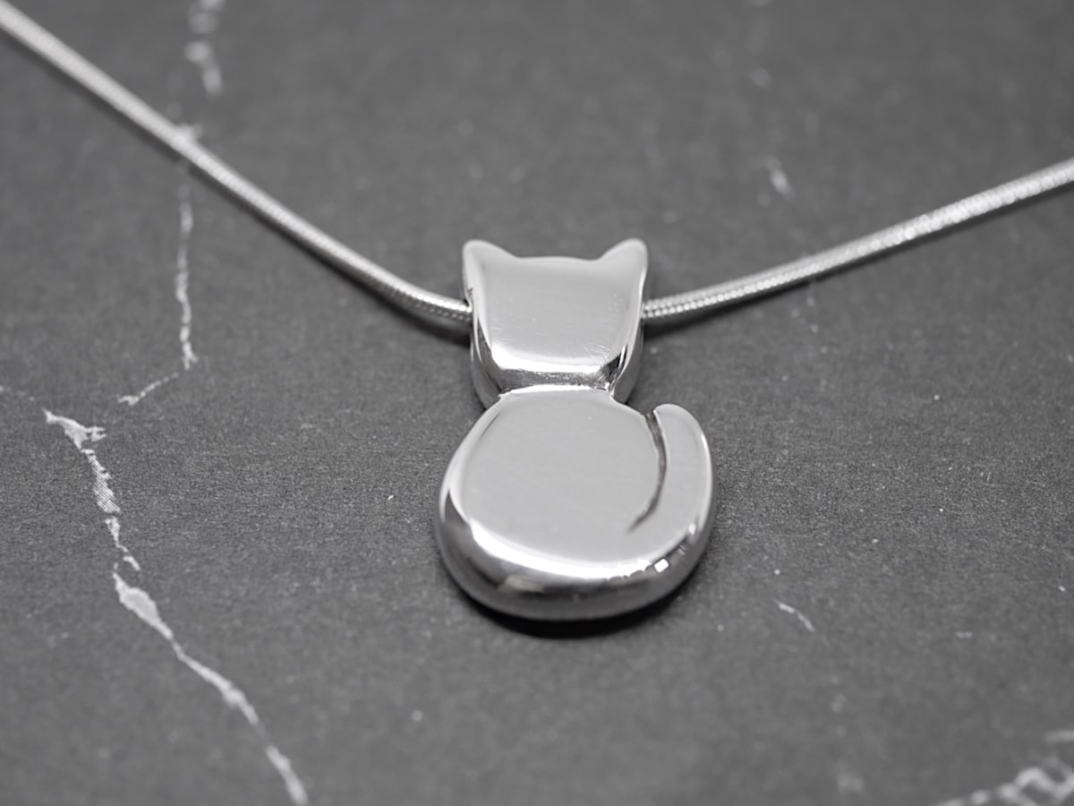 Kitty – Handmade Sterling Silver Cat Pendant By Purplefish Designs