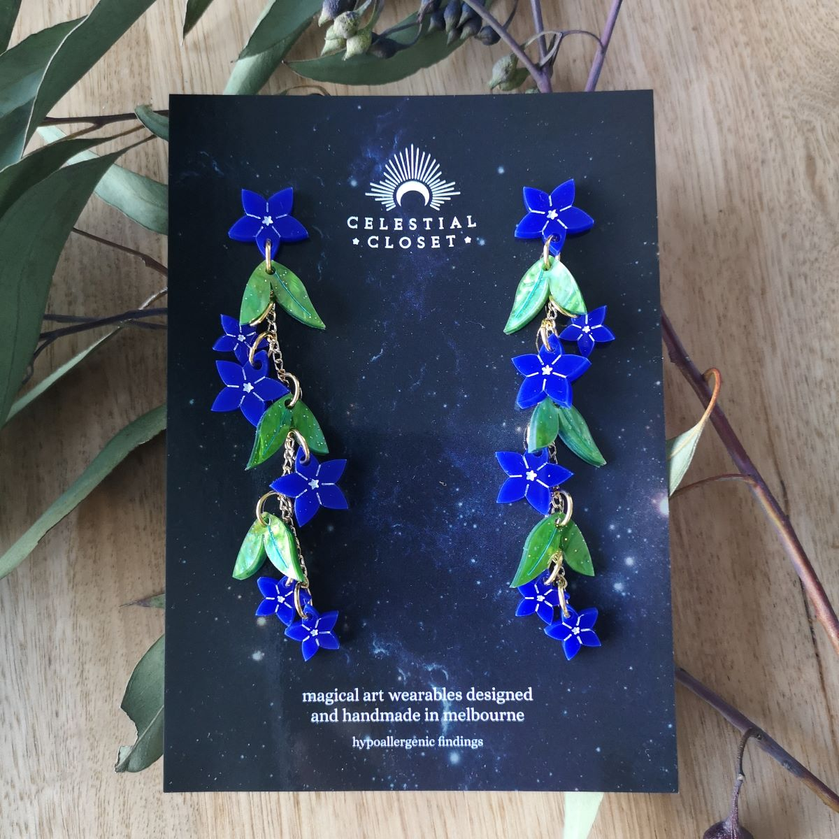 Royal Bluebell Charm Drop Earrings By Celestial Closet