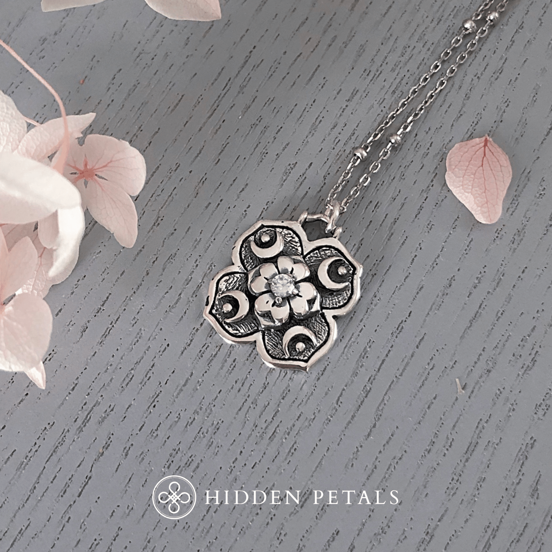 Cosmic Dreamer Cubic Zirconia Silver Necklace By Hidden Petals