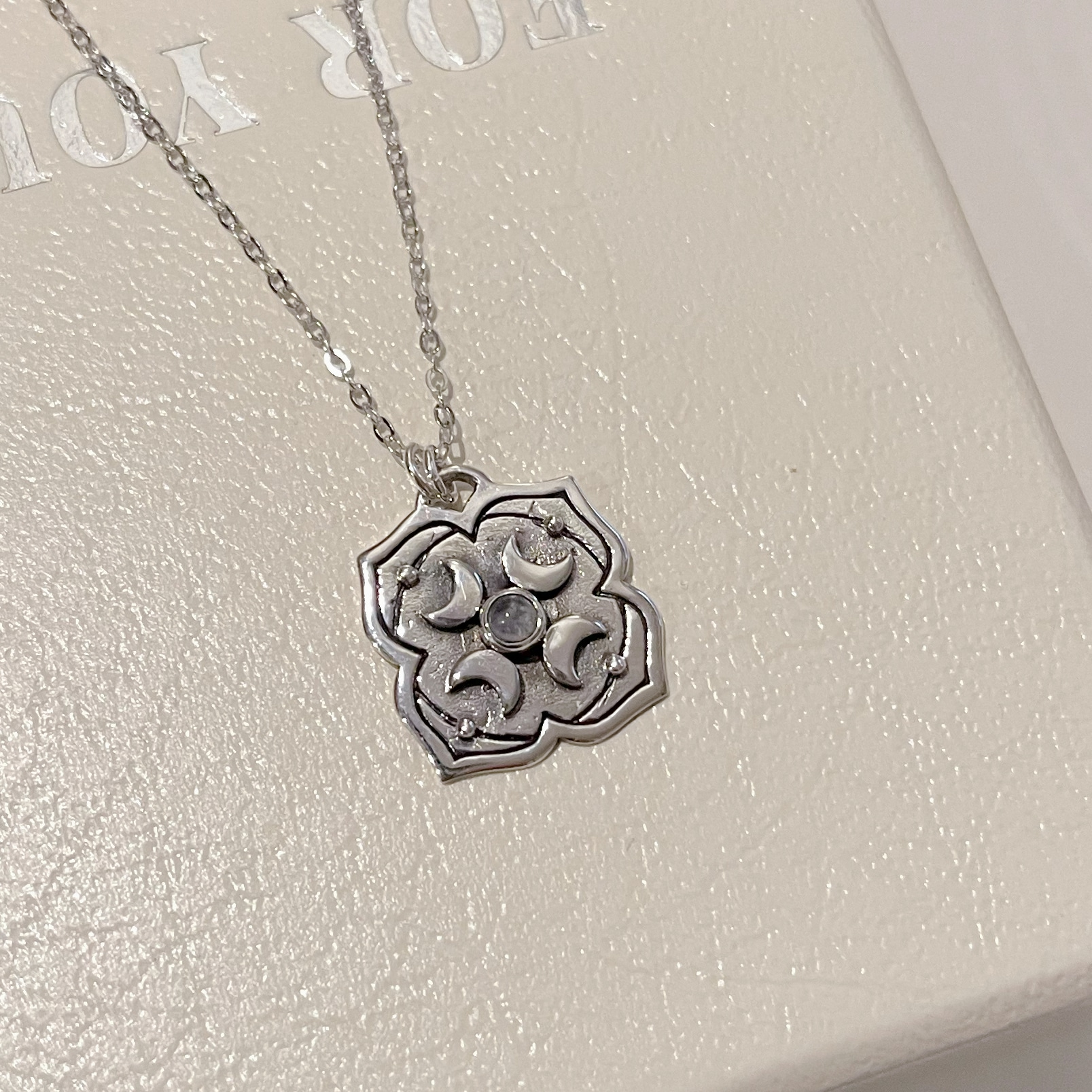 Selene Rainbow Moonstone Silver Necklace By Hidden Petals