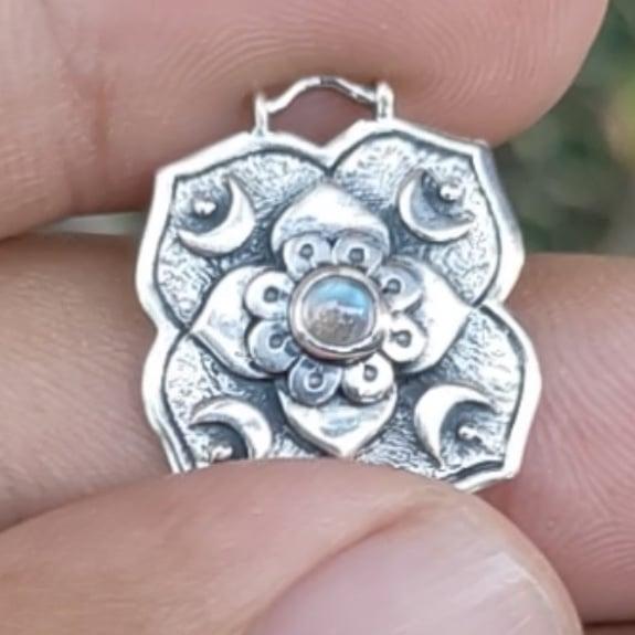 Artemis Rainbow Moonstone Silver Necklace By Hidden Petals