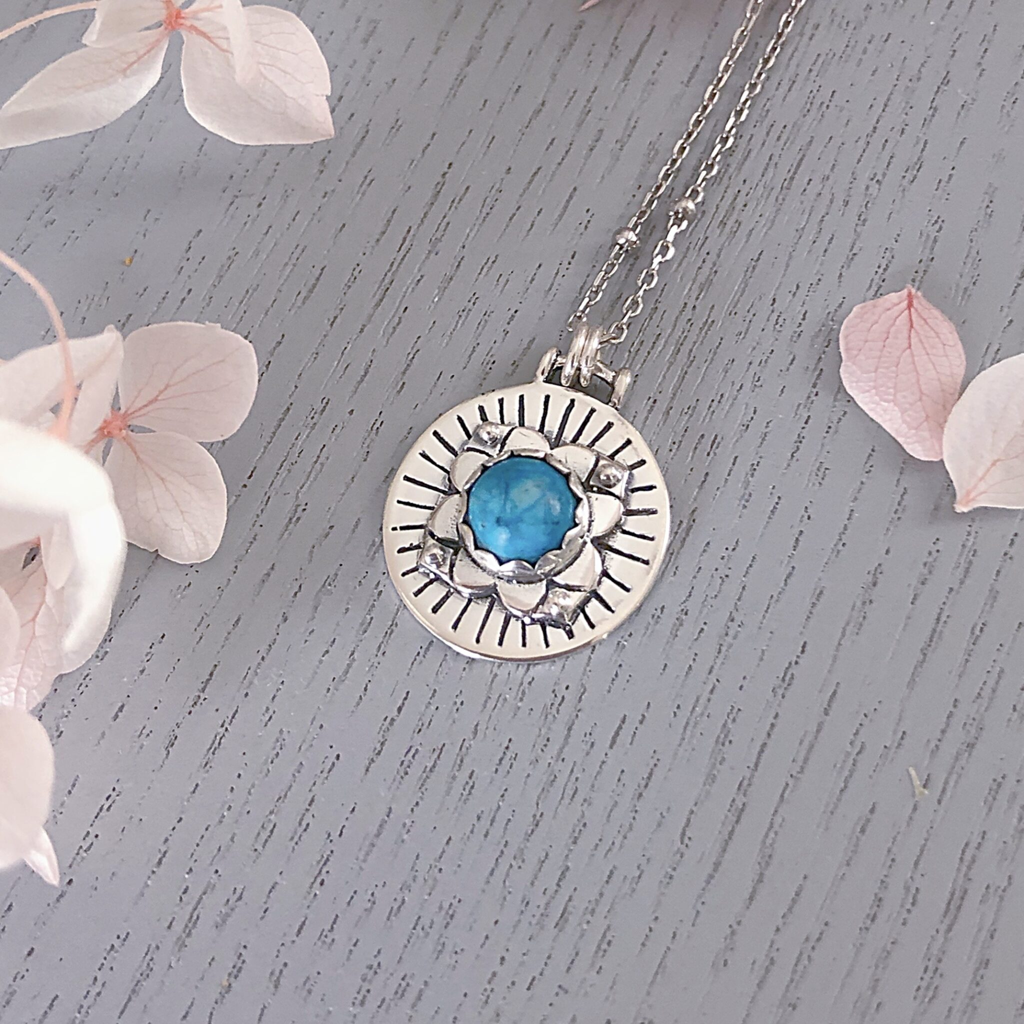 Astrid Turquoise Silver Necklace By Hidden Petals