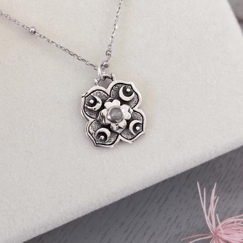 Cosmic Dreamer Rainbow Moonstone Silver Necklace By Hidden Petals