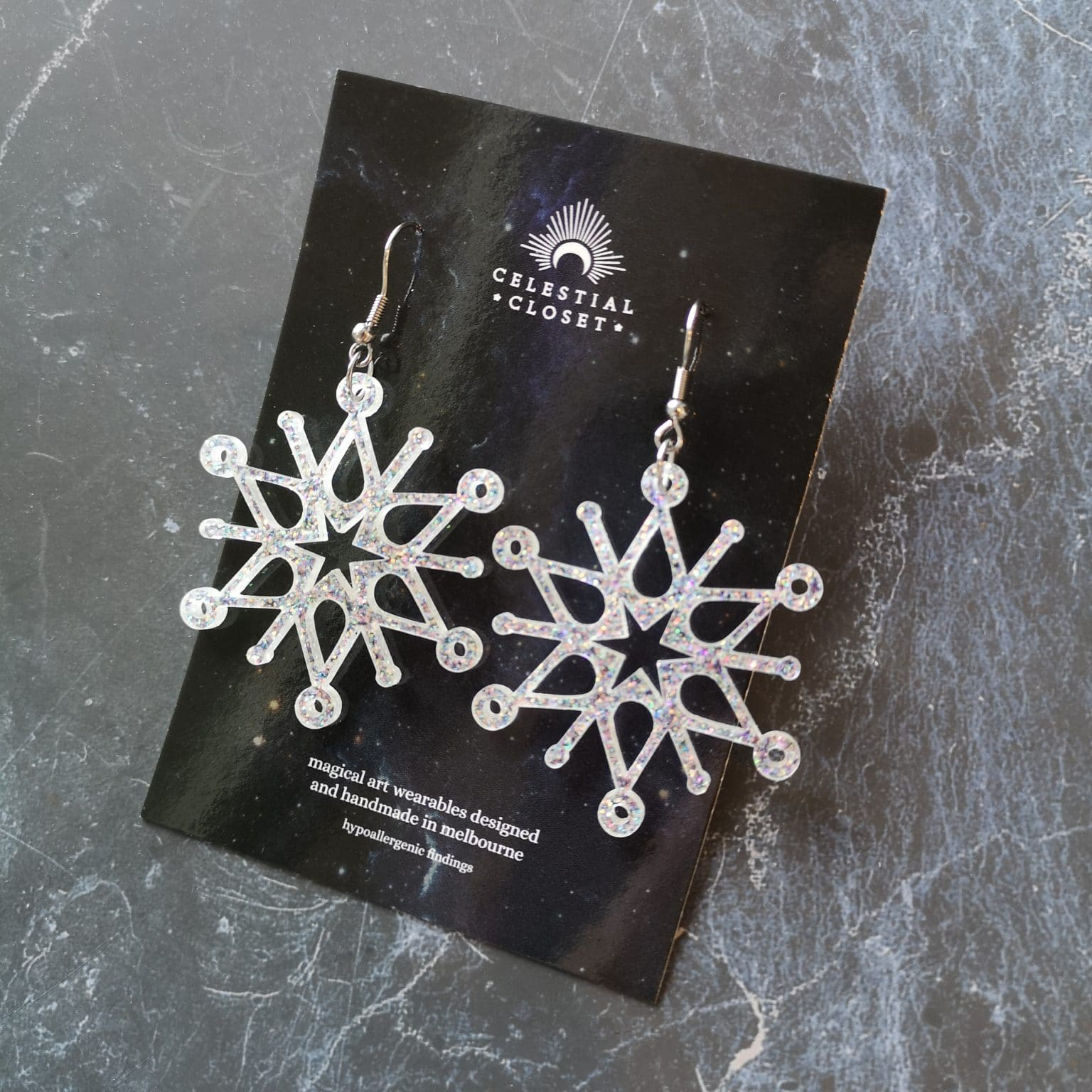 Demetria Snowflake Earrings – White Aurora Glitter By Celestial Closet