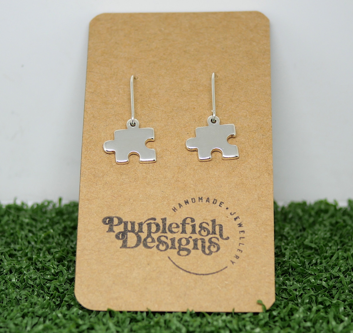 Jigsaw Earrings – Handmade Sterling Silver Puzzle Earrings By Purplefish Designs