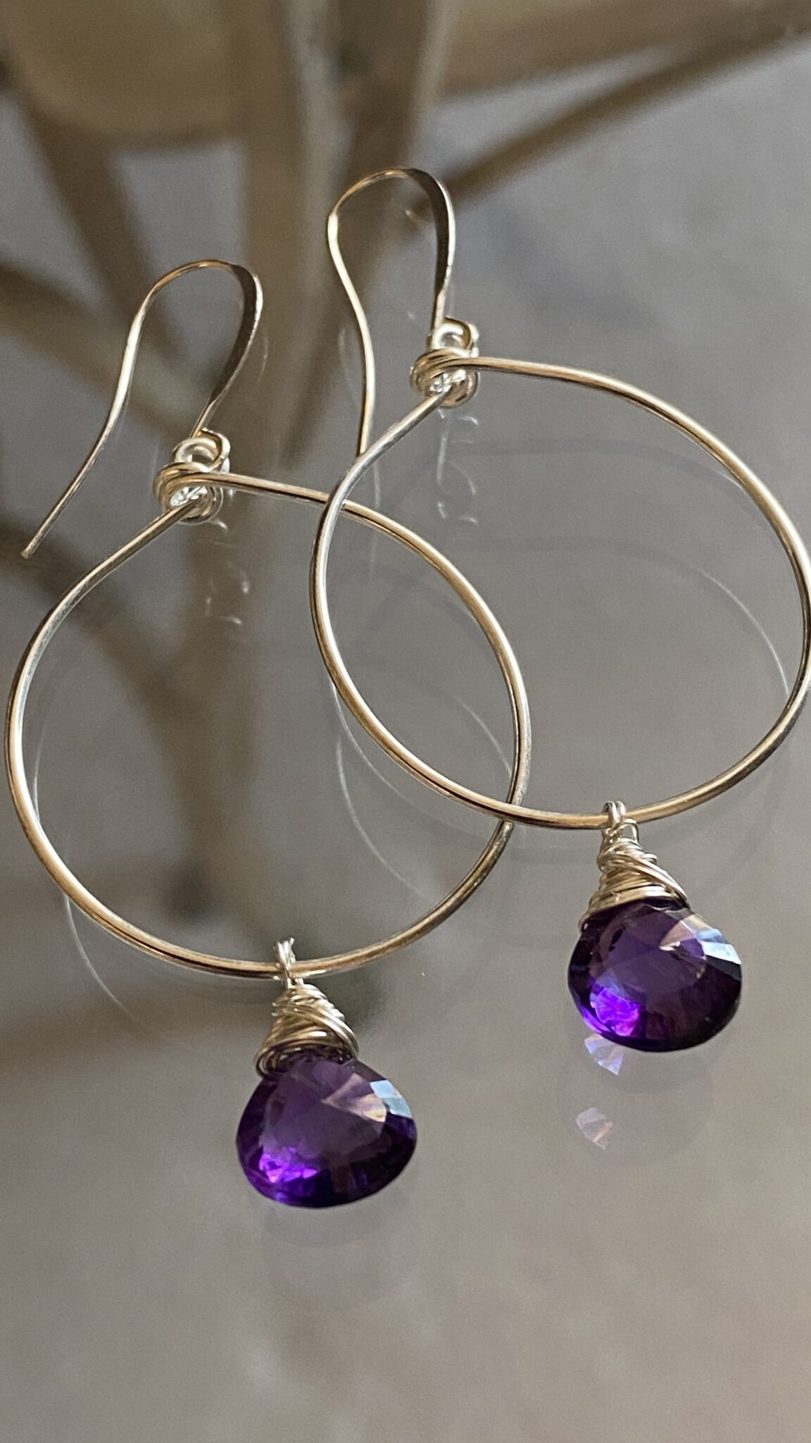 Amethyst Hand Cut, Polished Sterling Silver Filled Hand Wrapped Wires COVET AND DESIRE