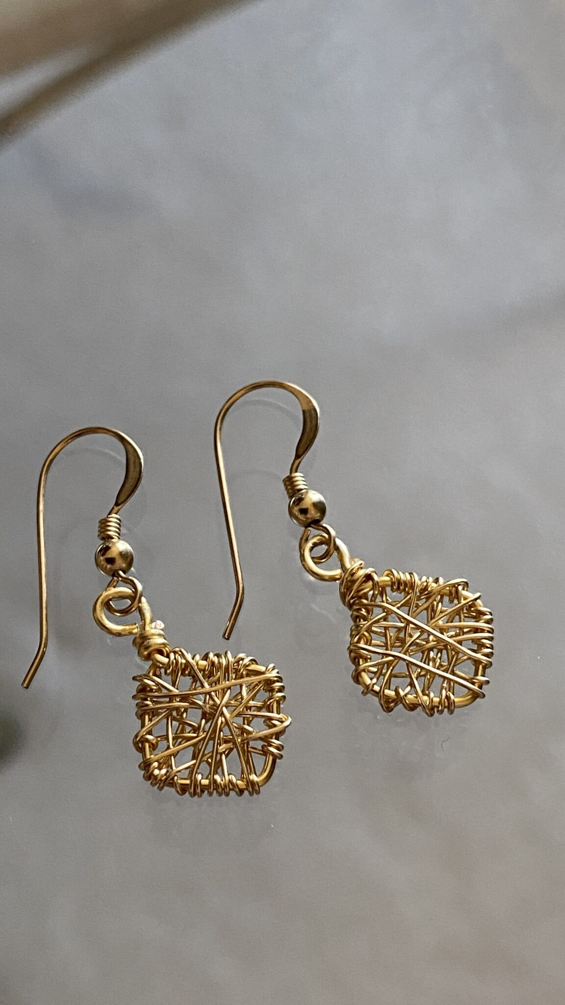 Hand Wrapped Minimalist 14k Gold Filled Wire Earrings. COVET AND DESIRE