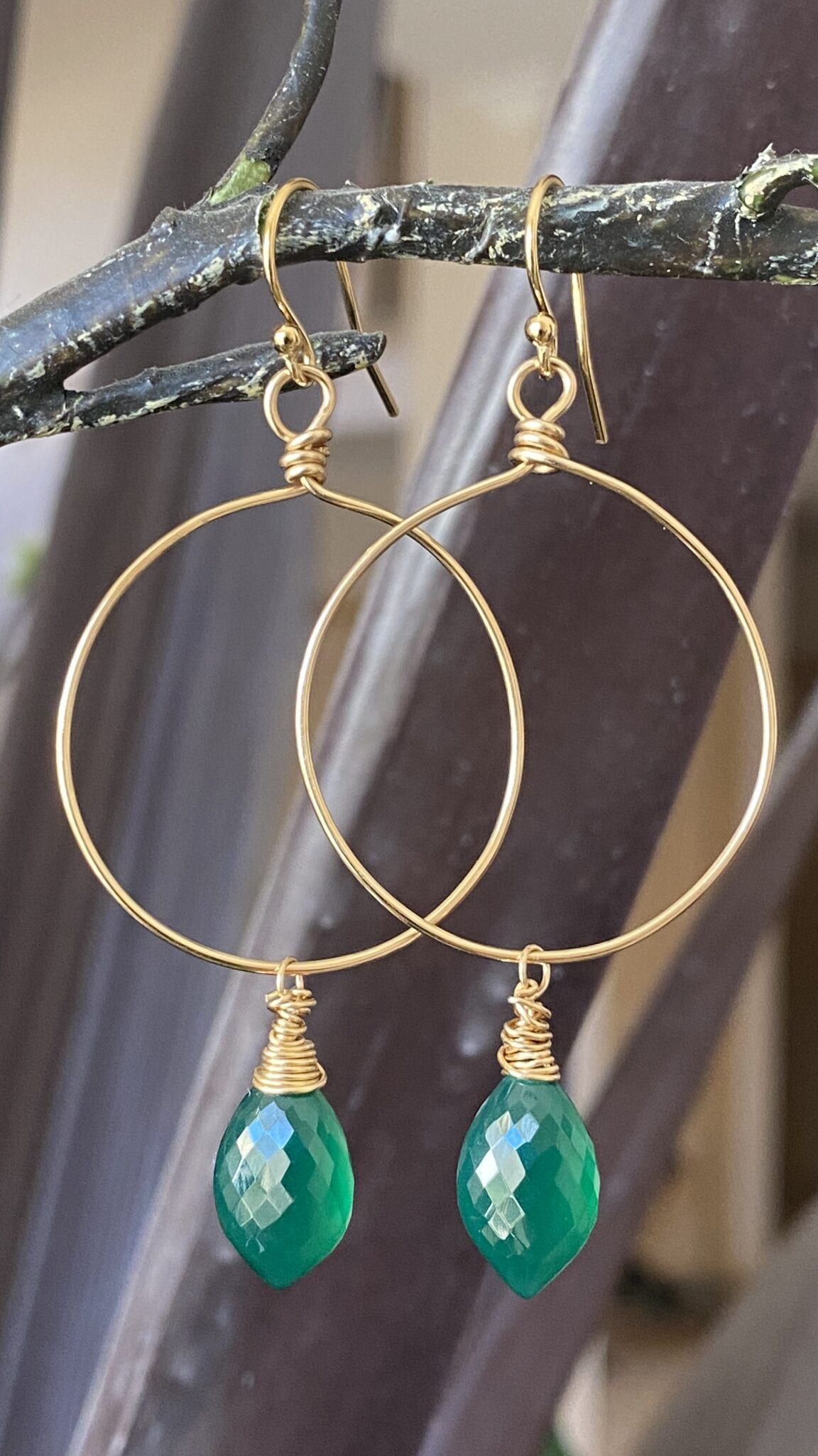 Jade Hand Cut, Polished Drop And 14k Gold Filled Hand Wrapped Wires COVET AND DESIRE