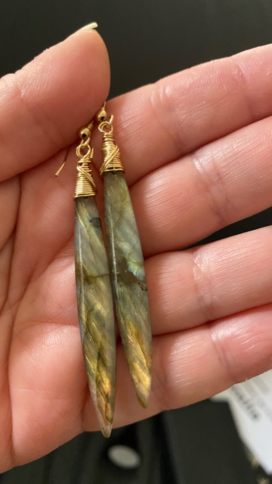 Hand Cut Labradorite Long Drop Earrings. Hand Wrapped. 14k Gold Filled Wires. COVET AND DESIRE