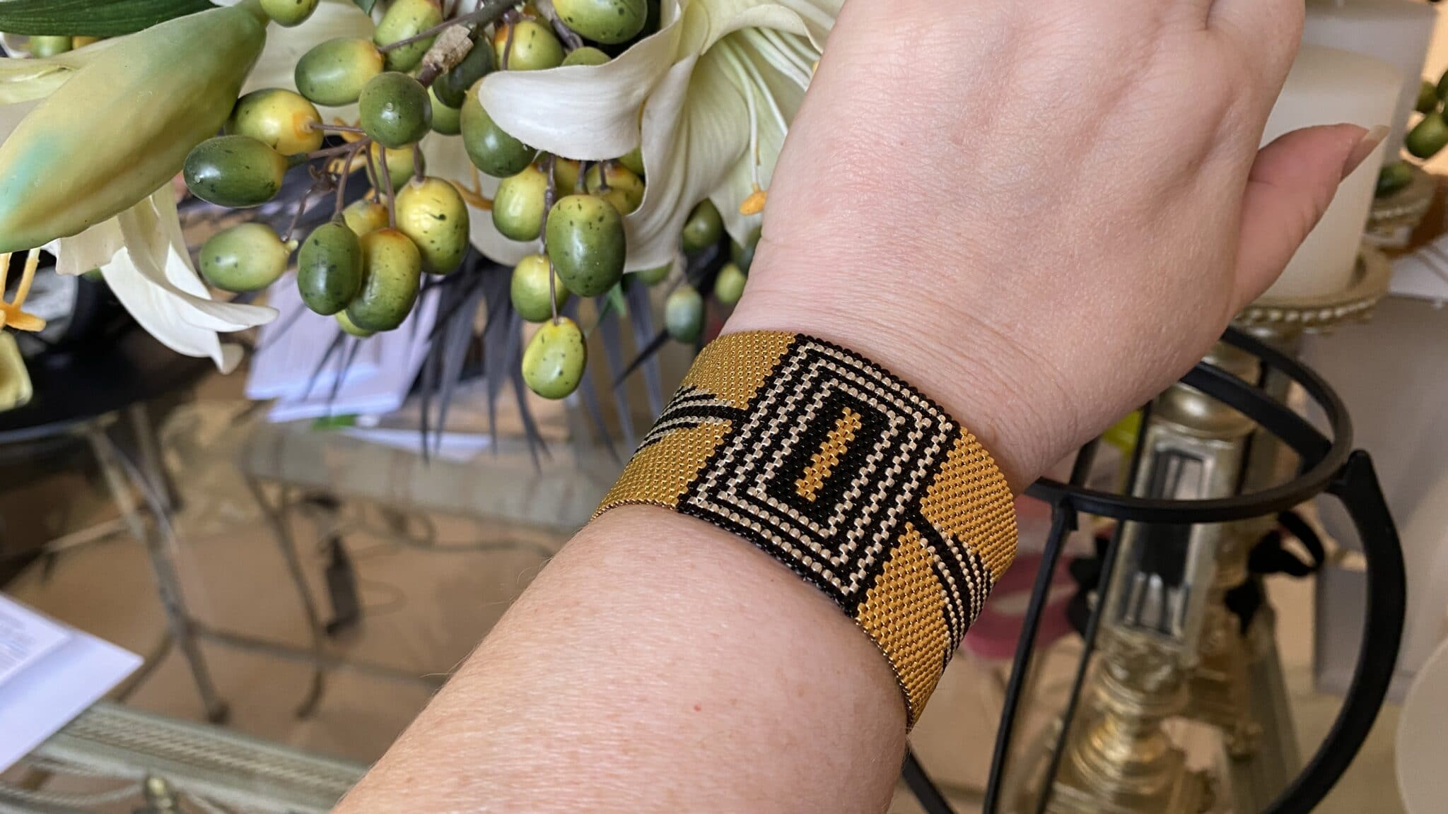 Art Deco Inspired 24k Gold Bracelet, Sterling Silver And Black, Wide Cuff, Handmade COVET AND DESIRE
