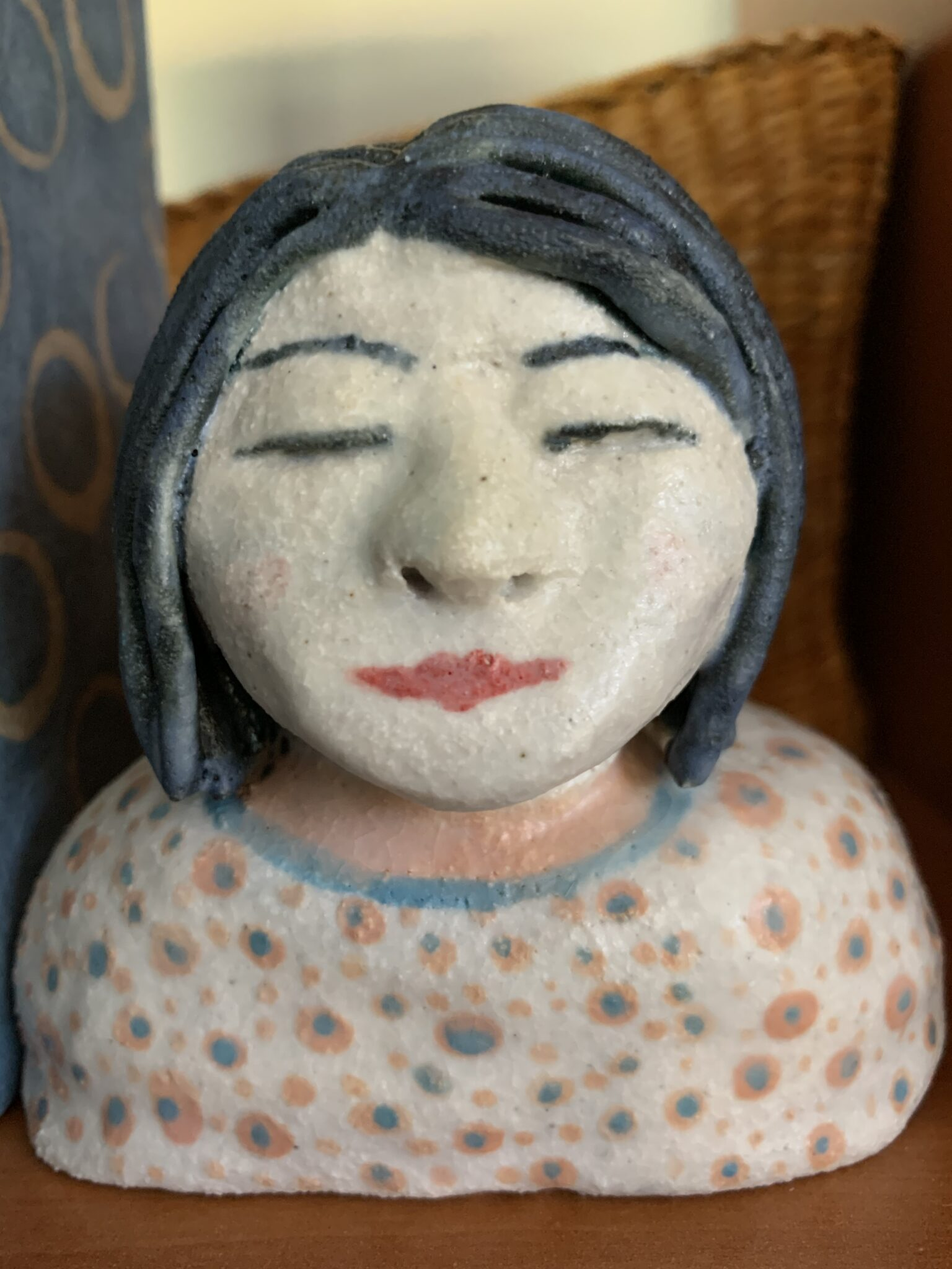 Ceramic Bust – Cute Blue Hair Lady By The Intrepid Potter