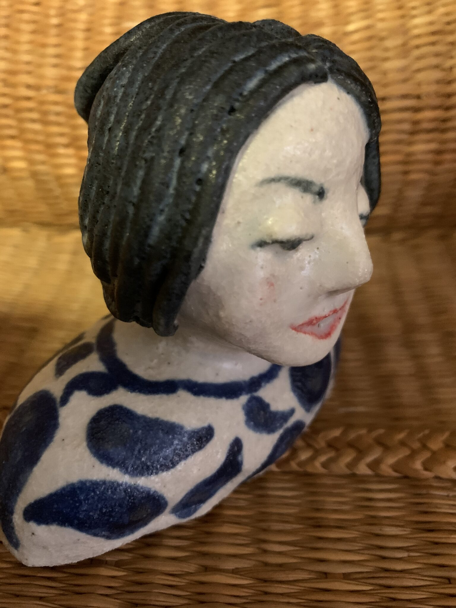 Ceramic Bust – Charming Blue Hair Lady By The Intrepid Potter