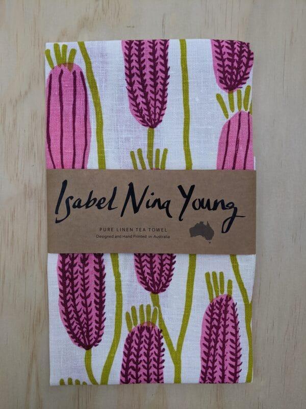 pink-bottlebrush-linen-tea-towel-by-isabel-nina-young-by-isabelninayoung