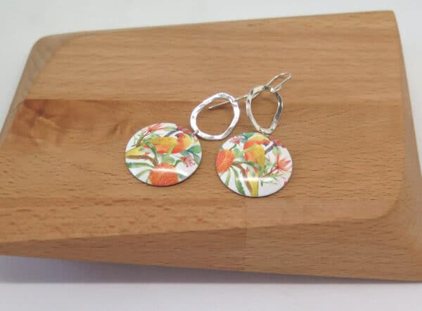 peachy-parrot-dye-sublimation-earrings-by-Germano Arts