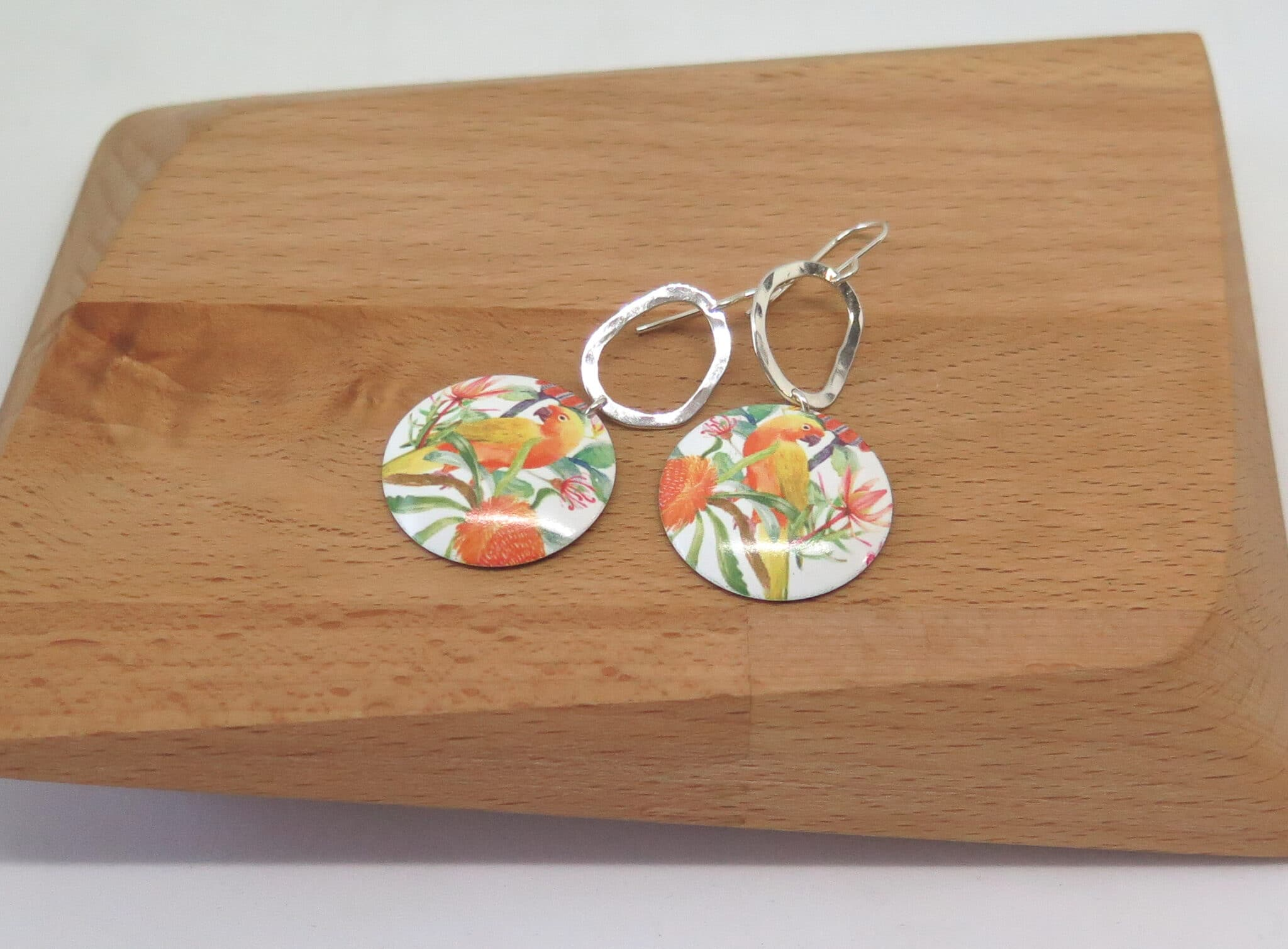 Peachy Parrot Dye Sublimation Earrings By Germano Arts