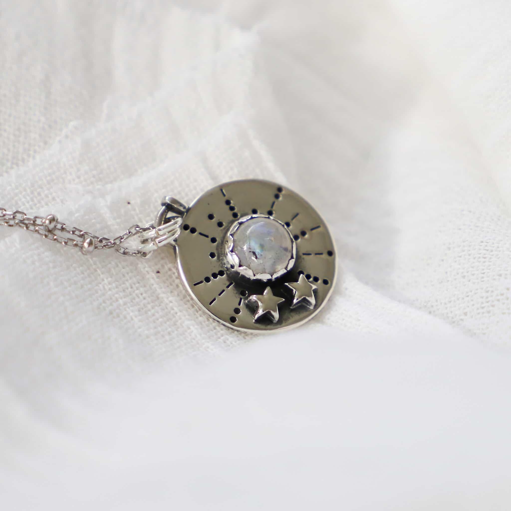 Asteria Rainbow Moonstone Silver Necklace By Hidden Petals