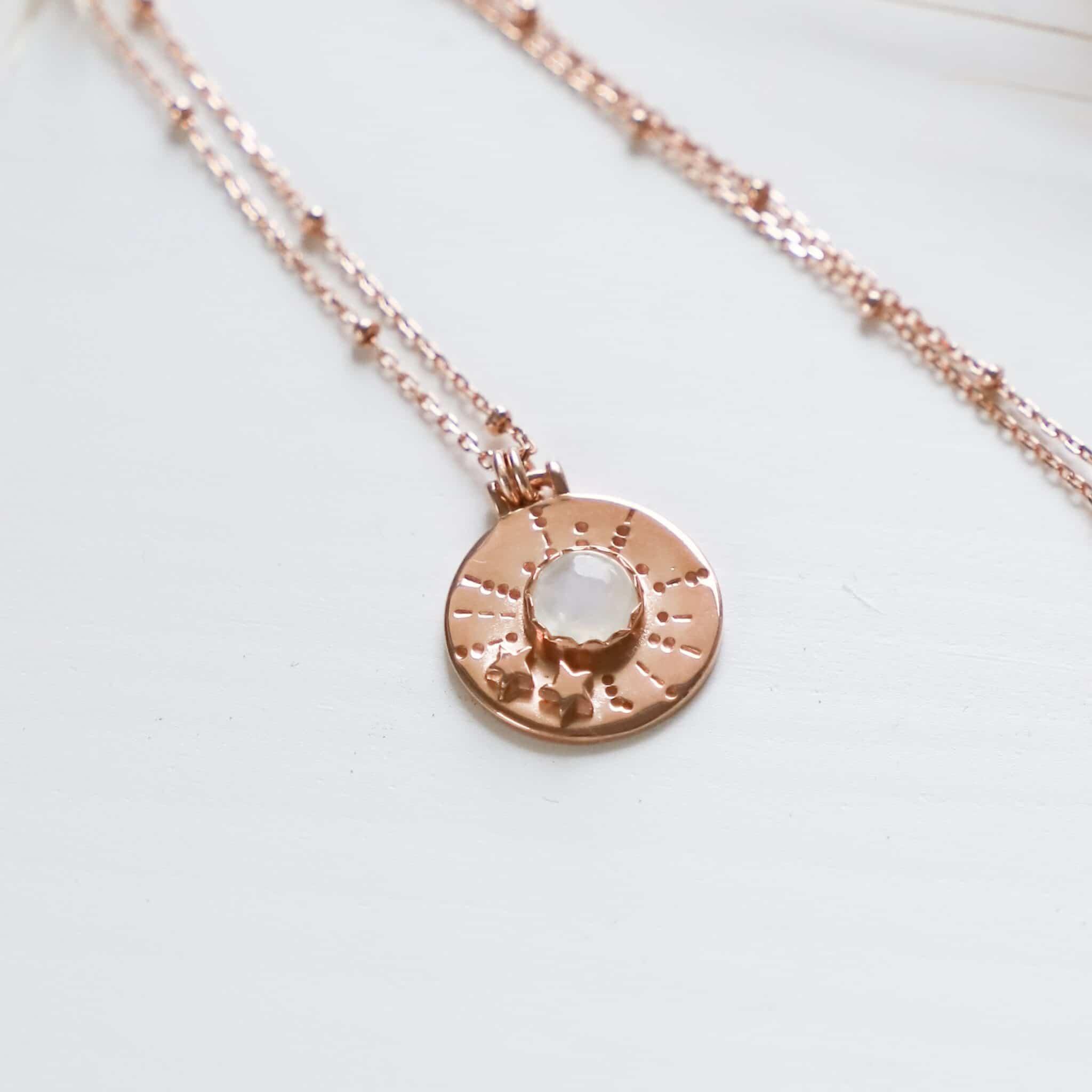 Asteria Rainbow Moonstone Necklace By Hidden Petals
