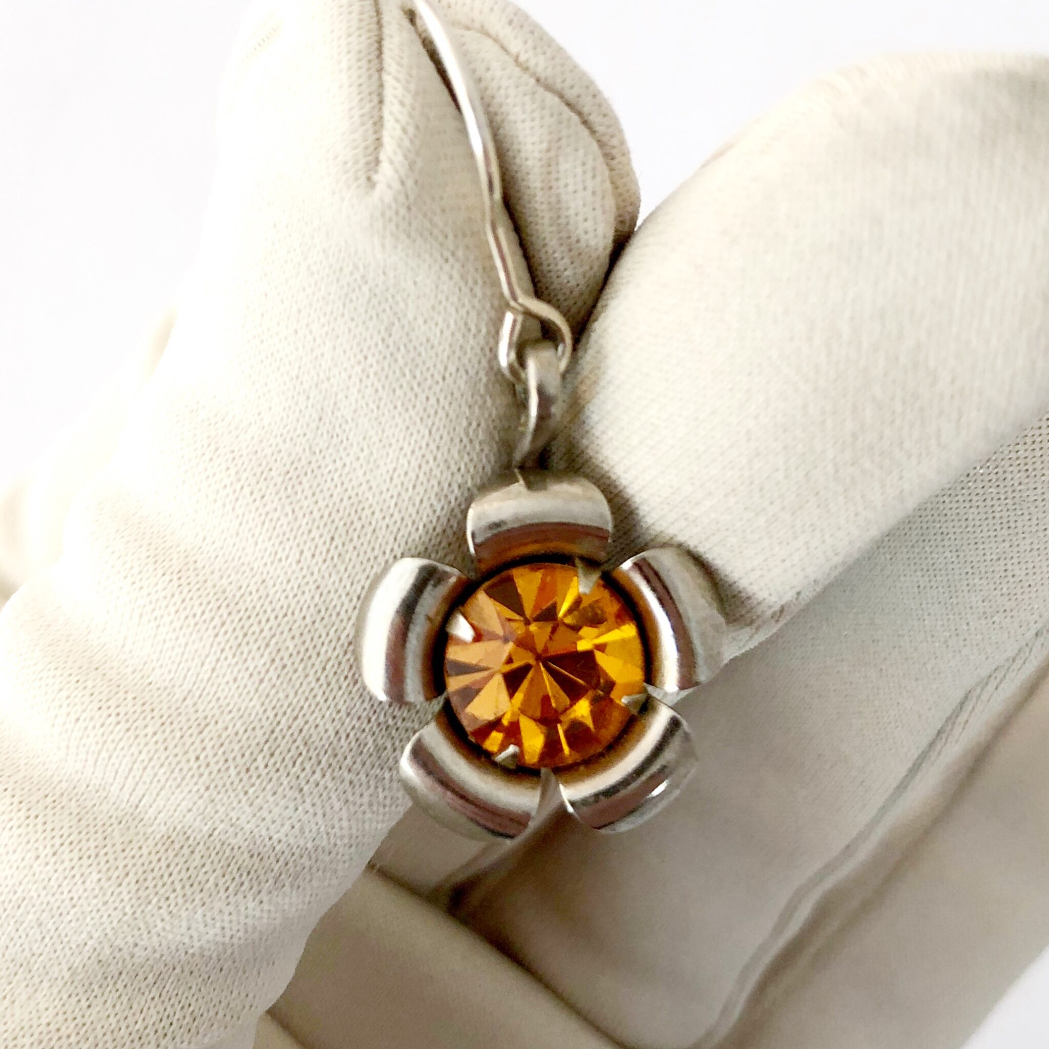 Upcycled Vintage Topaz Rhinestone Earrings By My Vintage Obsession