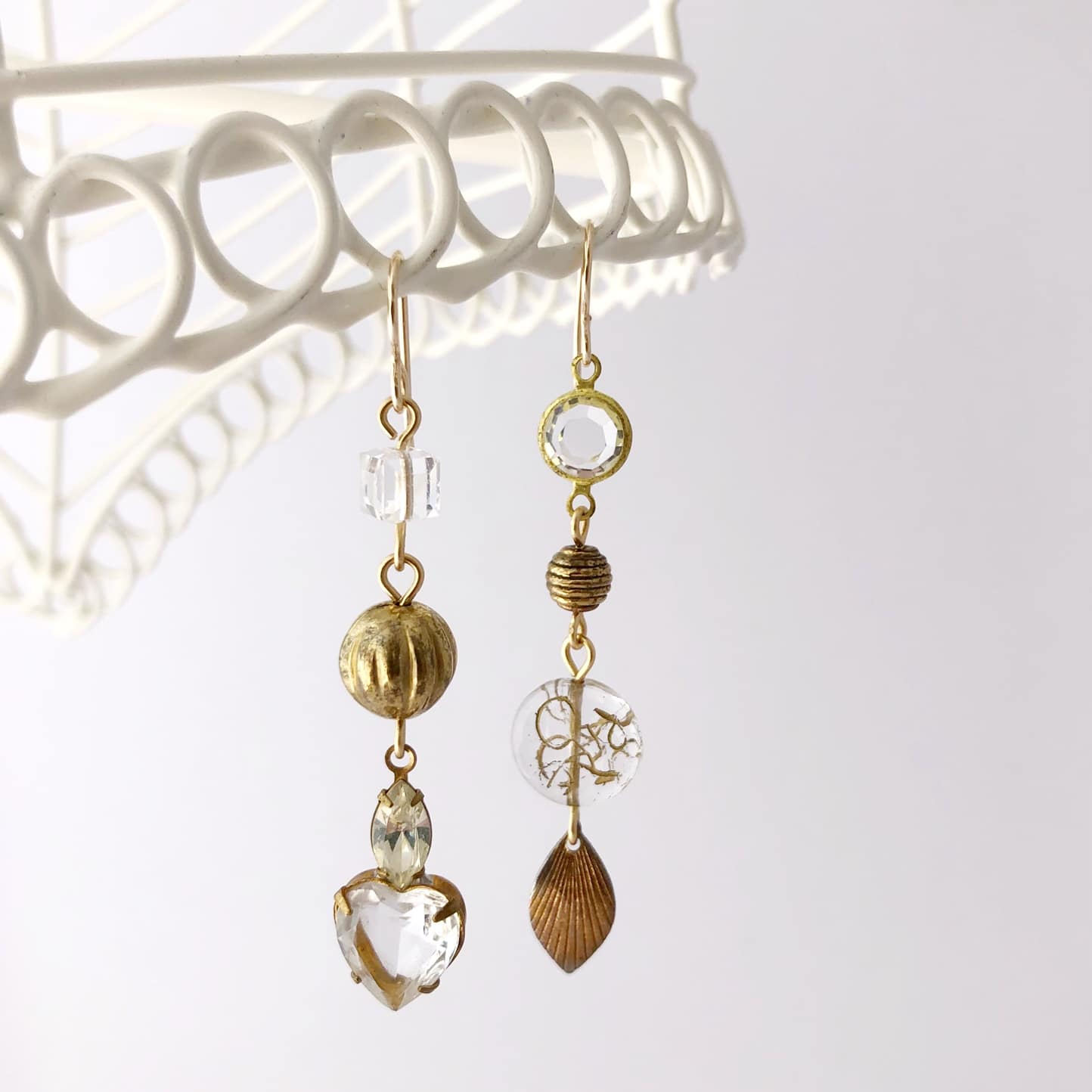 Asymmetrical Vintage Crystal And Gold Earrings By My Vintage Obsession