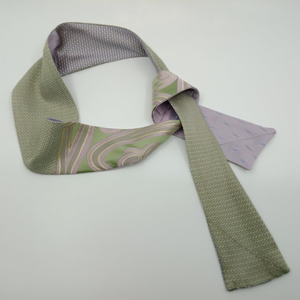 Delicate Green And Lilac Silk Reversible Headband By Judith Scott Upcycling