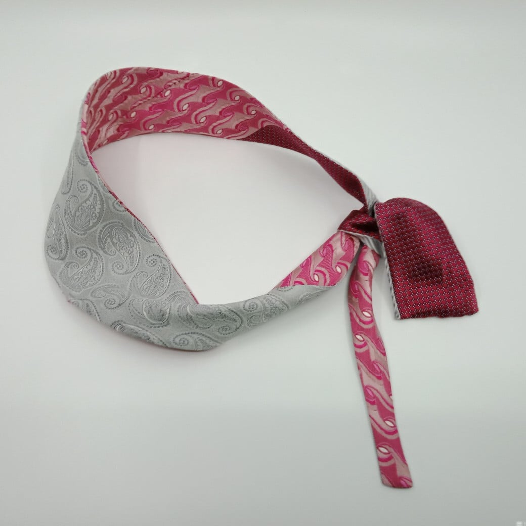 Pink And Grey Reversible Silk Headband By Judith Scott Upcycling