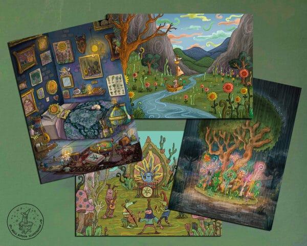rustic-postcards-set-of-4-13x18cm-kell-kitsch-by-kellkitsch