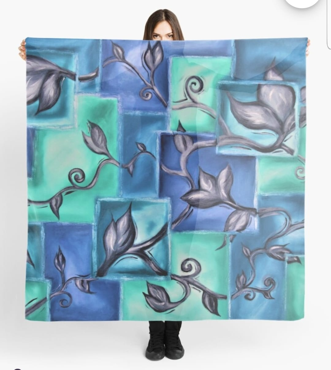Blue Vine Scarf By Gem's Artistic Creations
