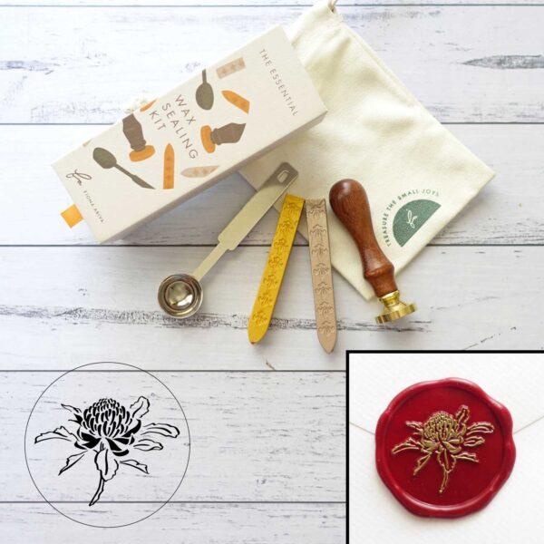 wax-sealing-set-waratah-stamp-wax-sticks-spoon-by-fiona-ariva-by-fionaariva