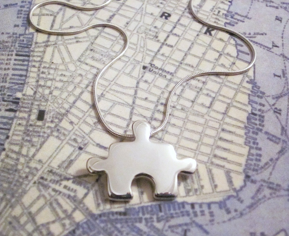 Puzzle – Handmade Sterling Silver Jigsaw Pendant With Snake Chain By Purplefish Designs