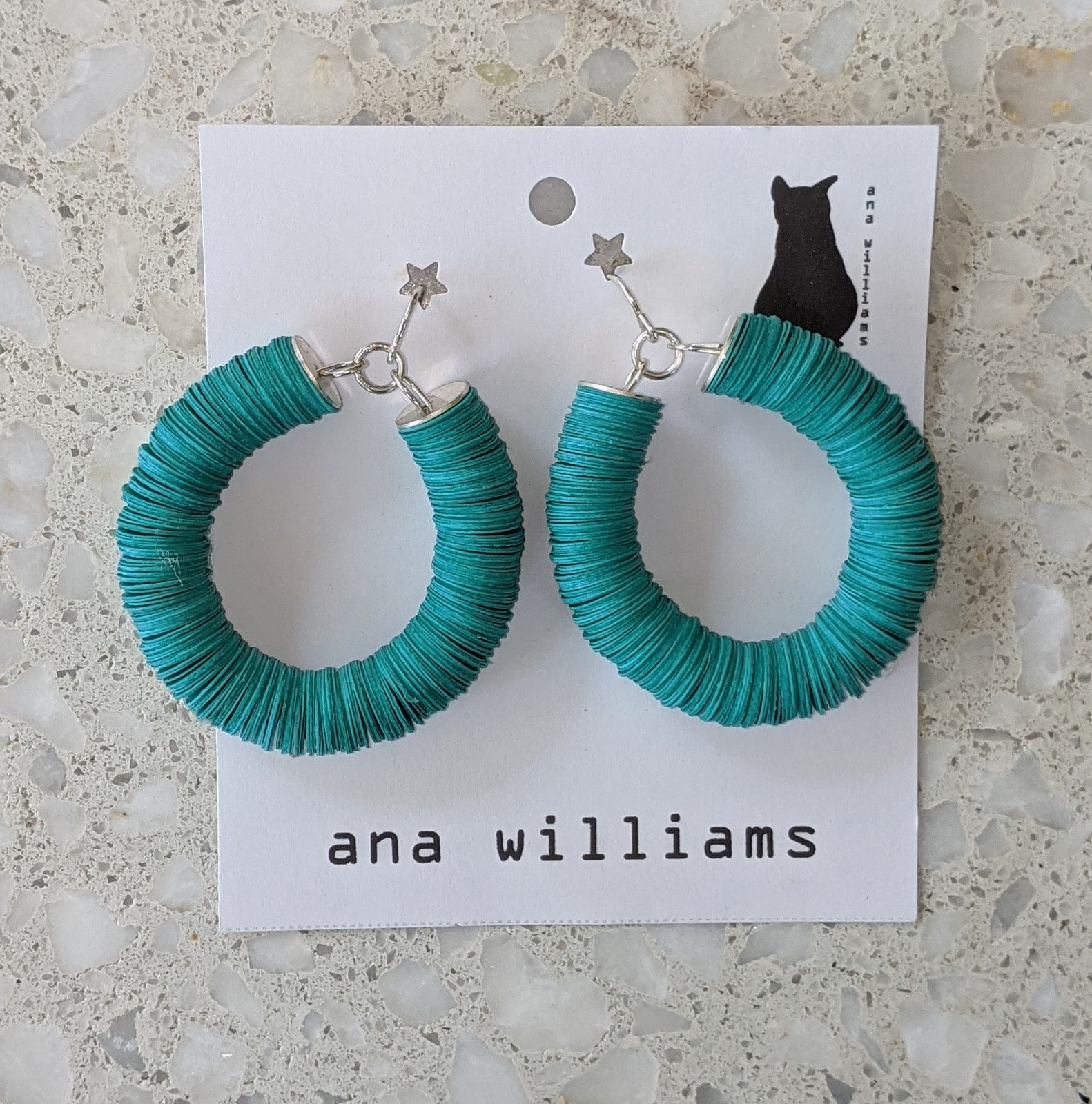 Teal Blue Paper Reel Hoop Earrings By Ana Williams