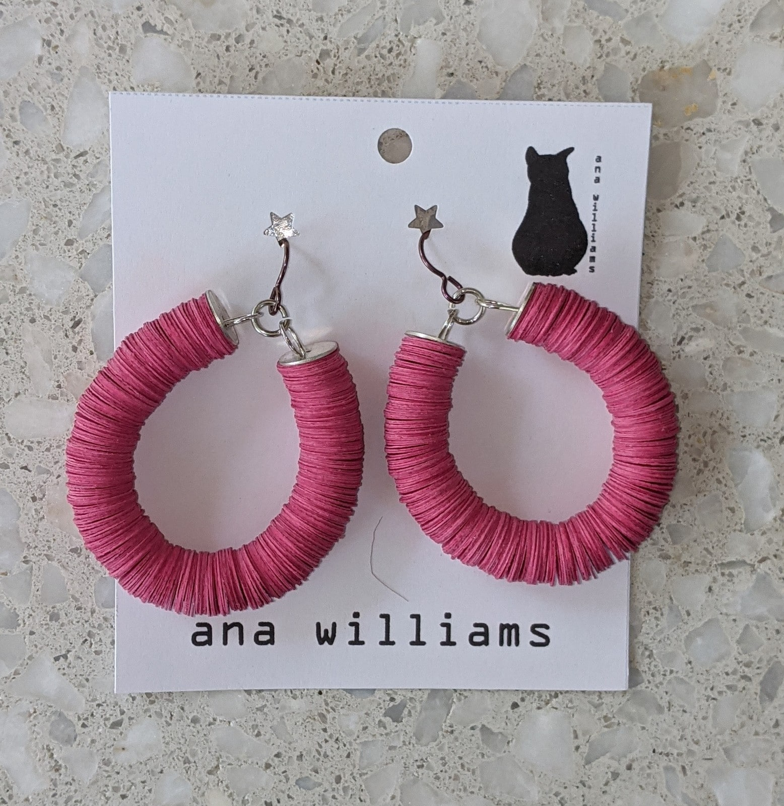 Bold Pink Paper Reel Hoop Earrings By Ana Williams