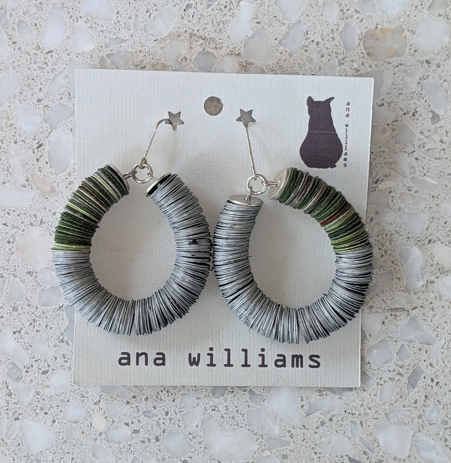 Moody Black And Khaki Green Paper Hoop Earrings By Ana Williams