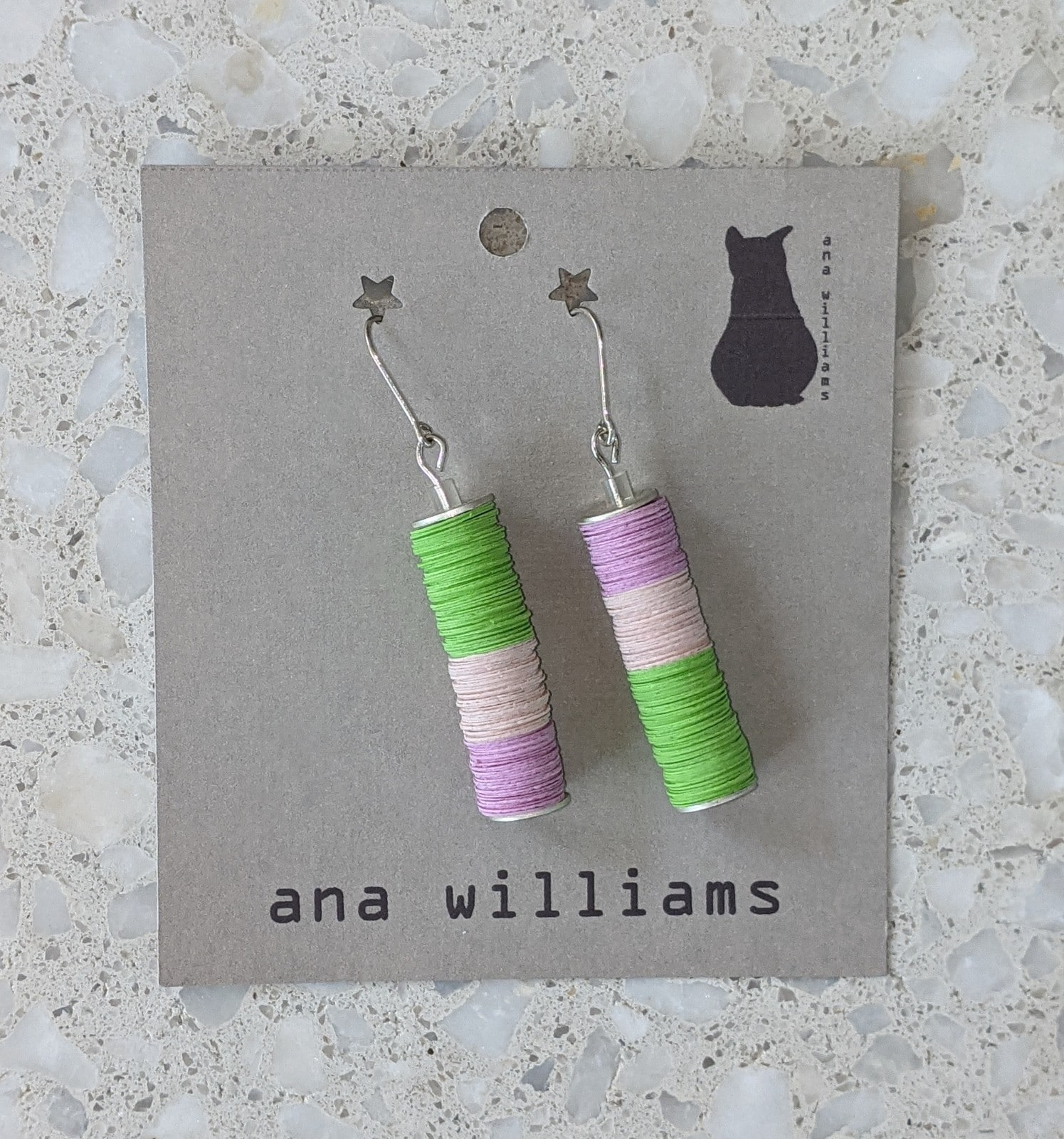 "Lavender,Pink And Lime ""Fruit Tingle"" Paper Pendant Earrings By Ana Williams"