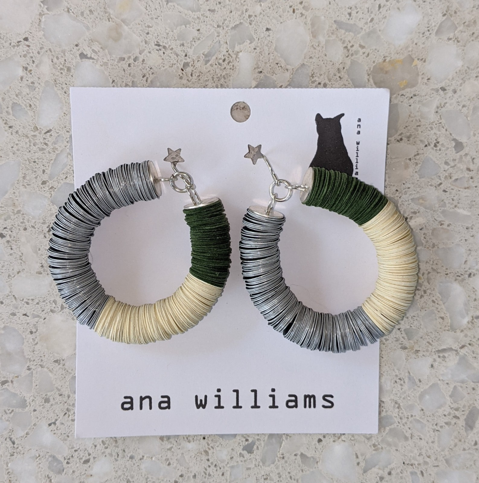 Yellow, Black Yupo And Moss Green Paper Hoop Earrings By Ana Williams