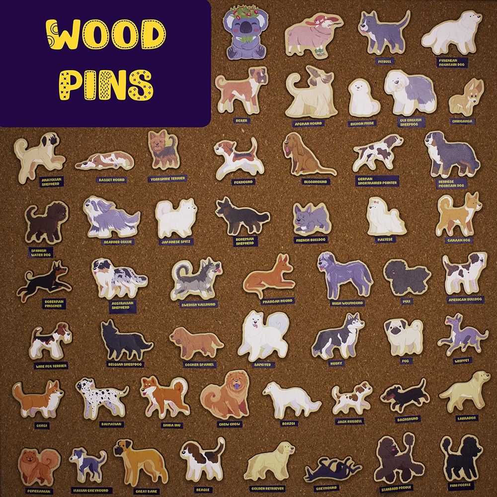 Dog Wood Pins By Beth Parow Illustration & Design