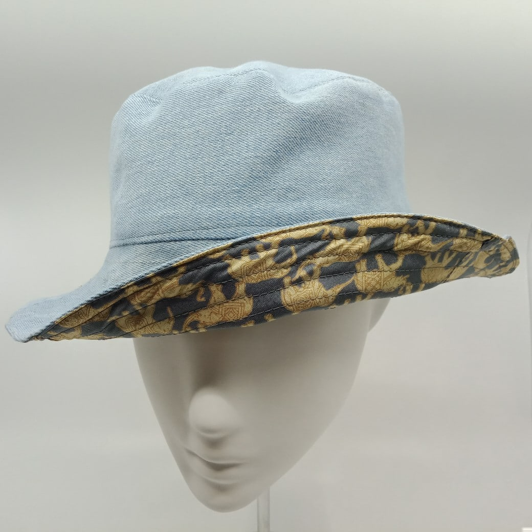 Whimsical Elephant Print Silk And Denim Reversible Bucket Hat By Judith Scott Upcycling