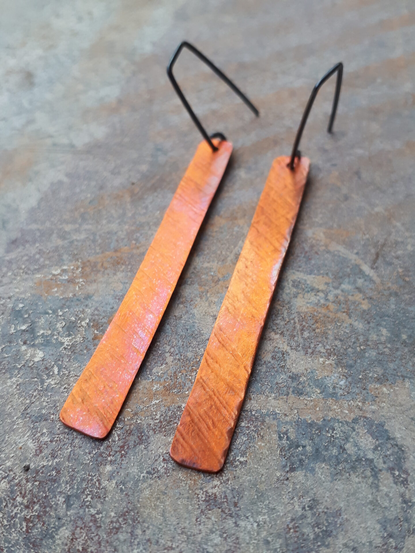 'Flaming Hot' Textured Strip Earrings By Emma Hesz
