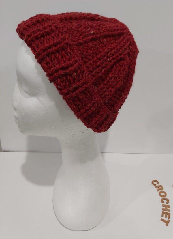 Rosy Wool Beanie handmade by U-Knit Crochet U-Knit Crochet (online only)