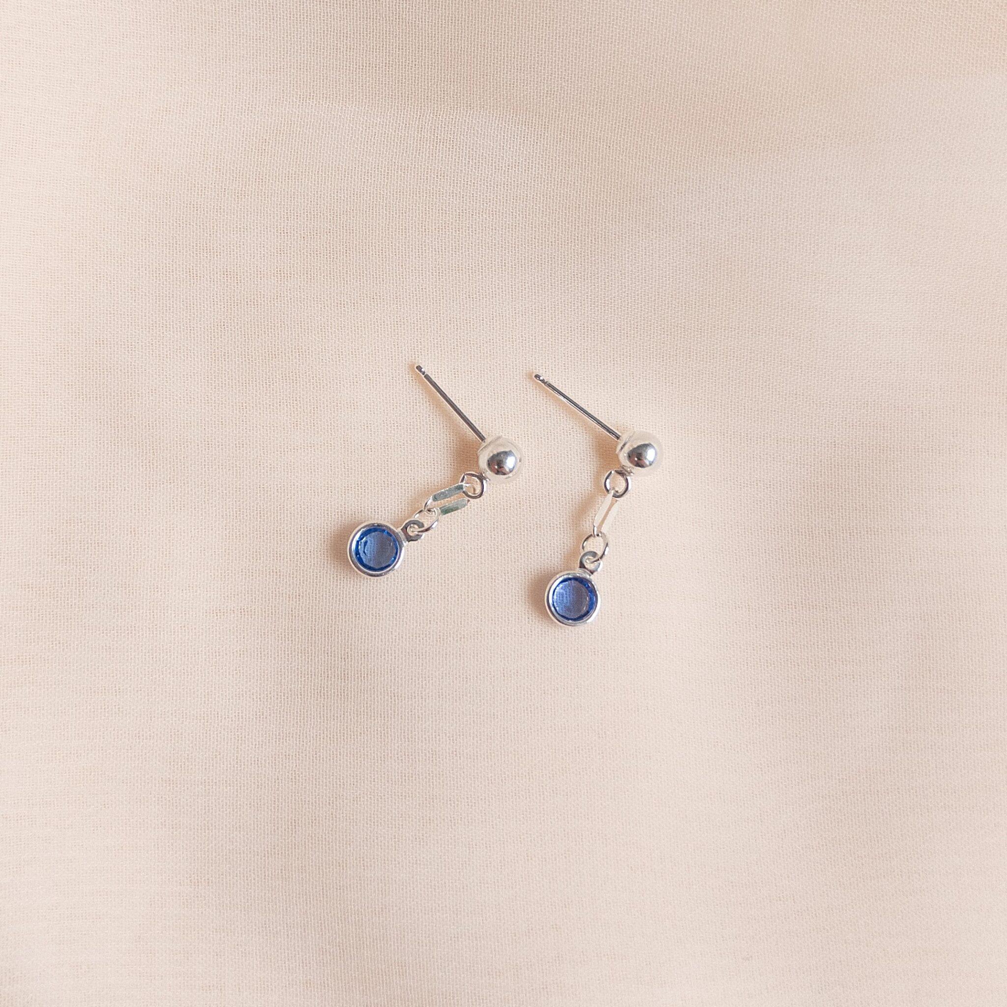 Gem Drop Earrings Sapphire In Sterling Silver By Little Hangings
