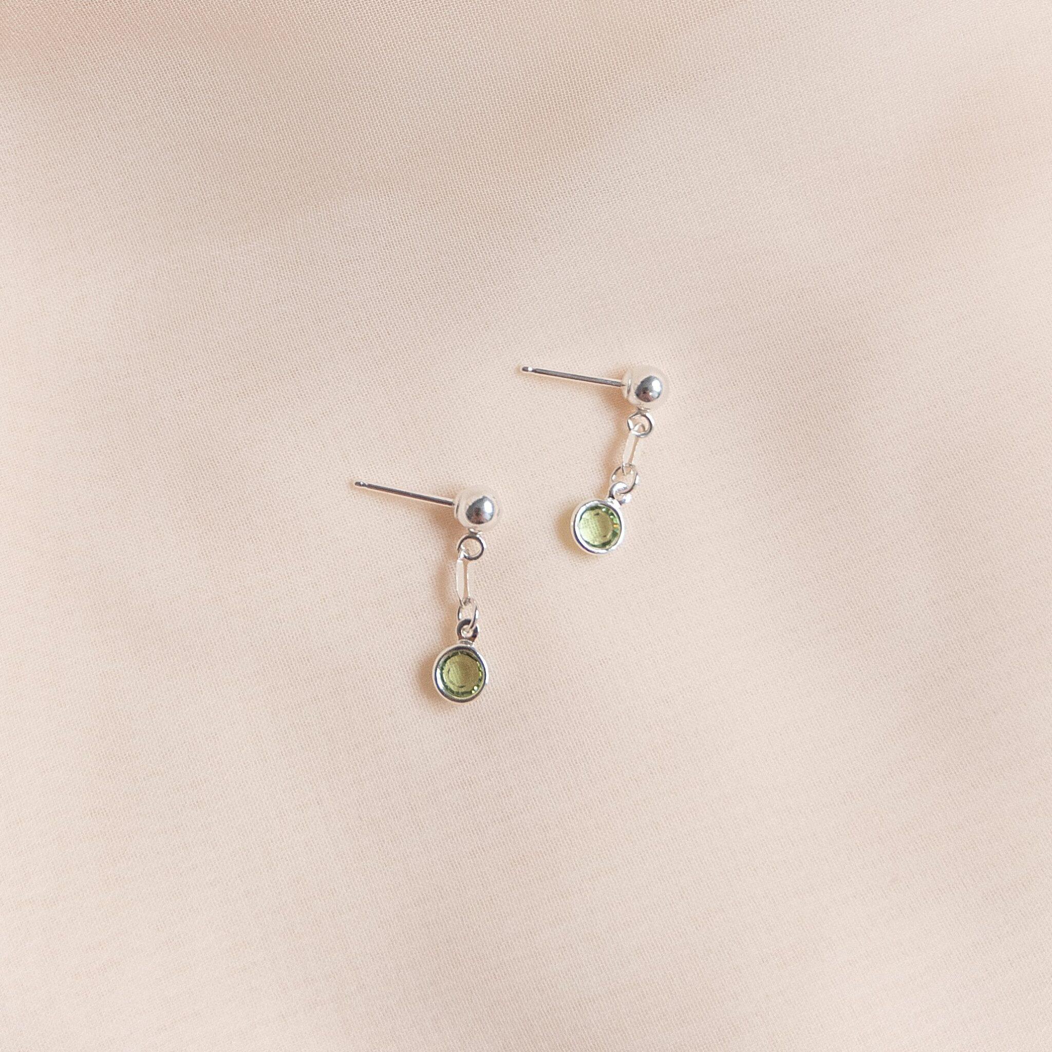 Gem Drop Earrings Peridot In Sterling Silver By Little Hangings
