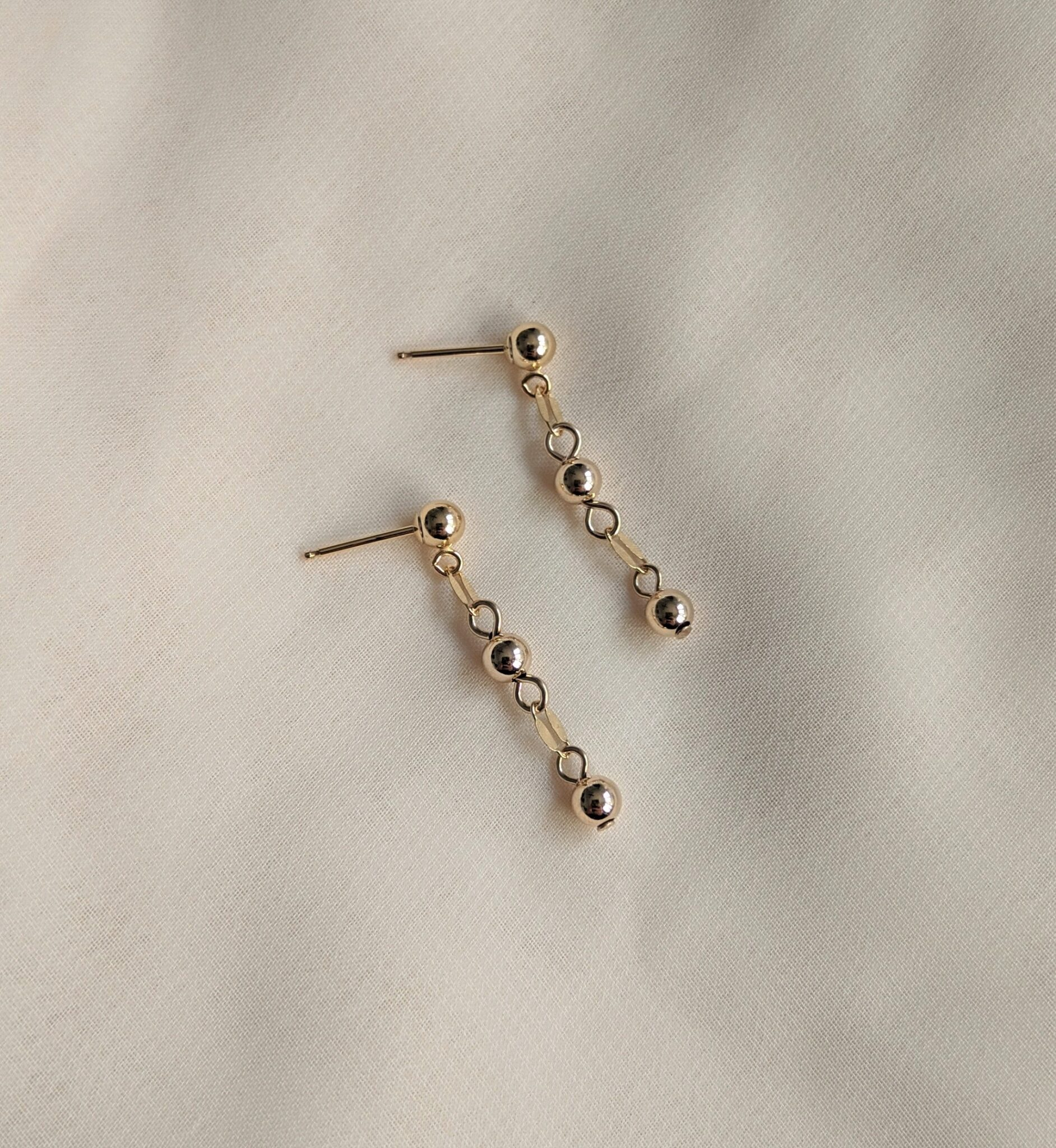 Three Bead Drop Stud Earrings In Gold Filled By Little Hangings